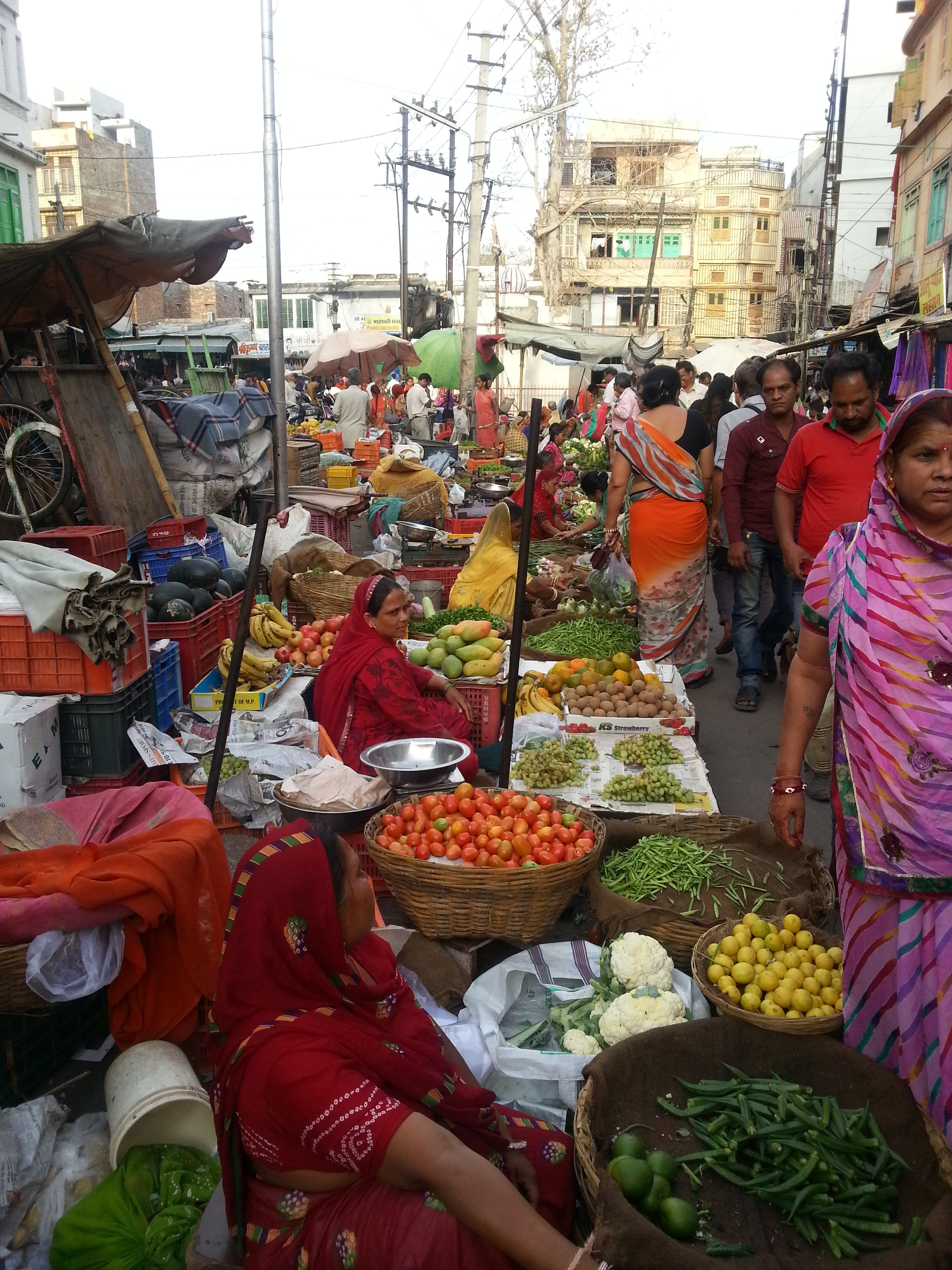 Local fruit and vegetable market in Udaipur.