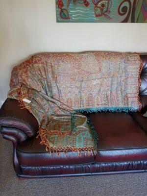 turquoise sofa throw