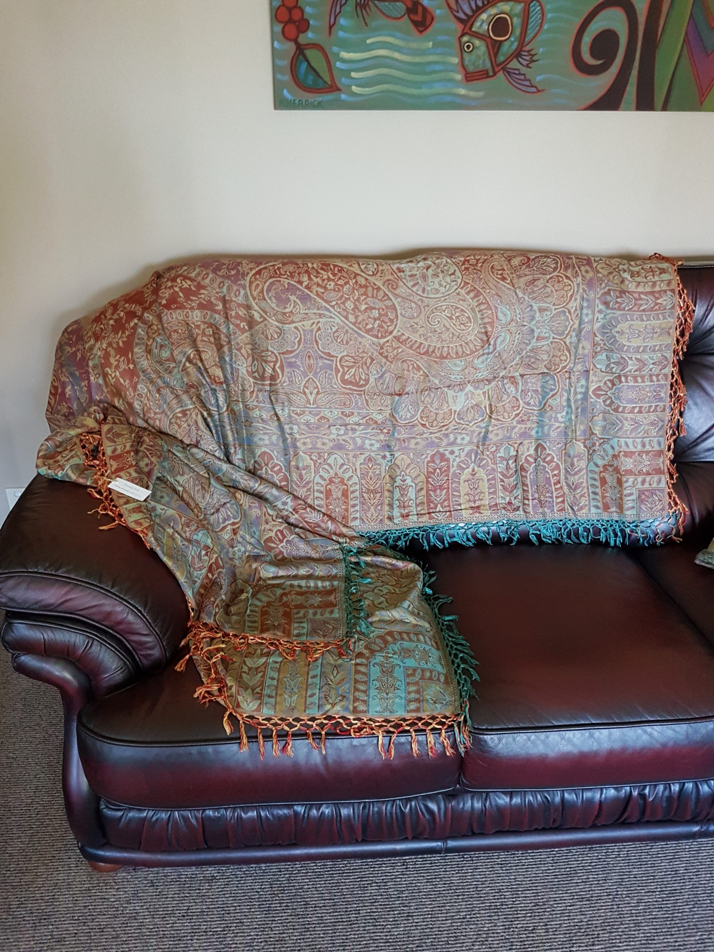Sofa Throw Turquoise and Red ShawlyNot