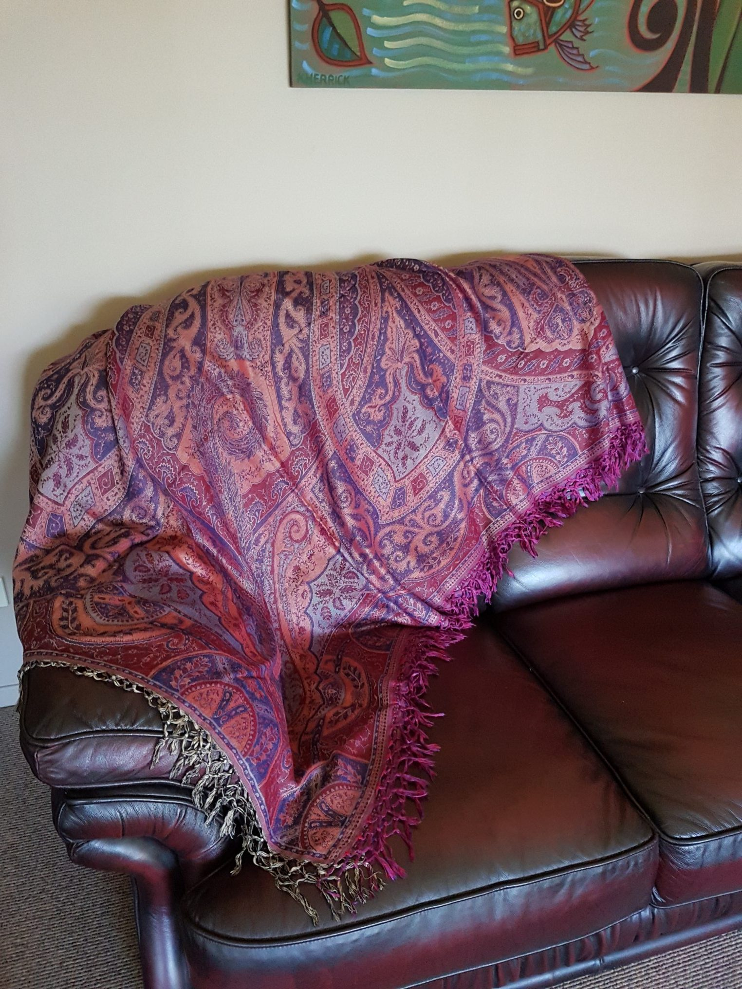 Sofa Throw In Red/Blue