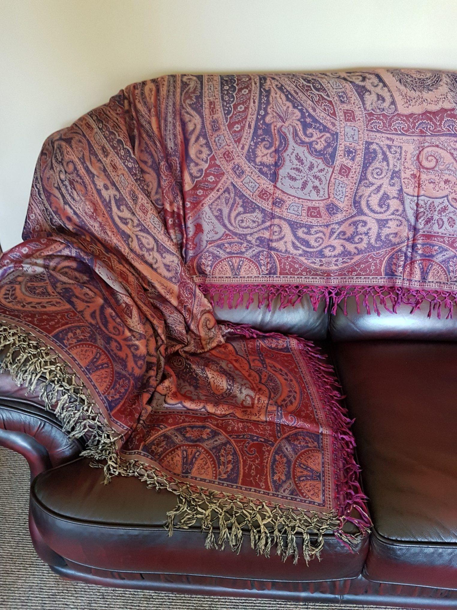 Sofa Throw In Red Blue Shawlynot